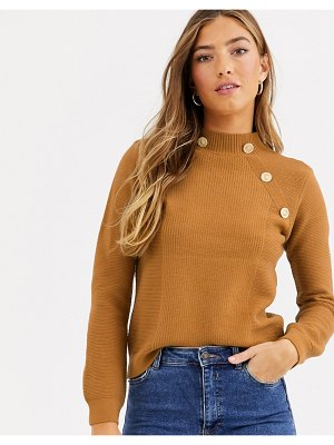 River Island turtleneck sweater with gold buttons in toffee-brown