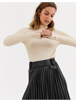 River Island turtleneck sweater with shoulder button detail in oatmeal-beige