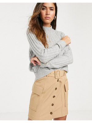 River Island utility mini skirt in beige