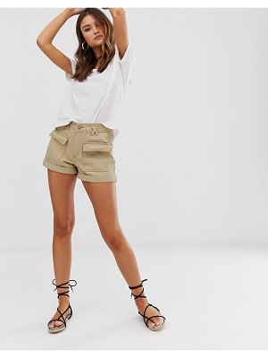 River Island utility shorts in sand-beige