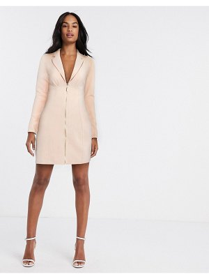 River Island zip front blazer dress in pink-beige