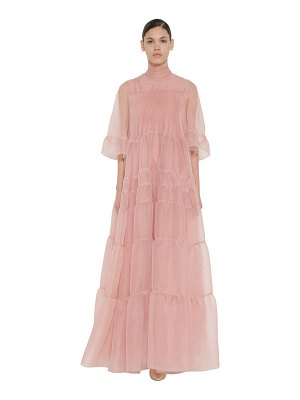 Rochas Long ruffled silk organza dress