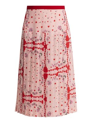 Rodarte heart-print pleated silk skirt