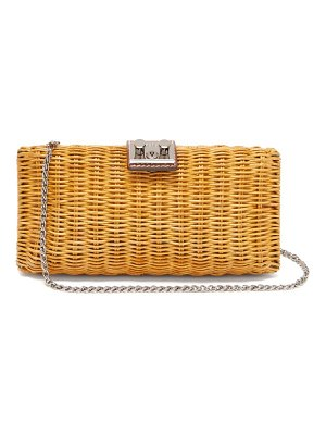 Rodo leather trimmed wicker clutch bag