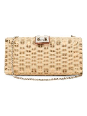 Rodo leather-trimmed wicker clutch