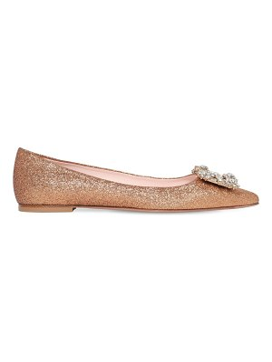 Roger Vivier 10mm embellished flower glittered flats