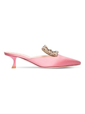 Roger Vivier 45mm rv broche embellished satin mules