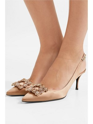 Roger Vivier flower crystal-embellished satin slingback pumps