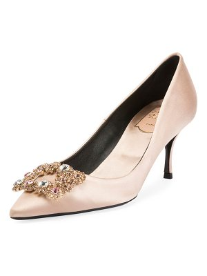 ROGER VIVIER Flower Strass Satin Pump