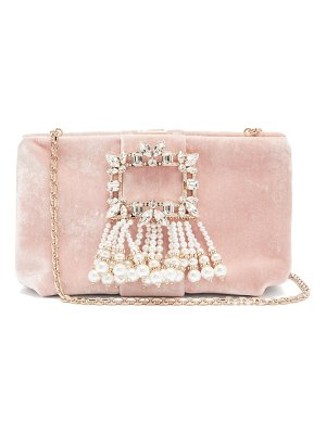 Roger Vivier rv broche crystal and pearl-embellished velvet bag