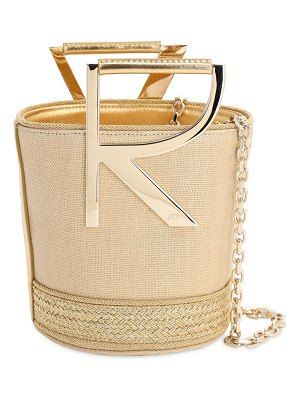 Roger Vivier Rv linen lamè bucket bag
