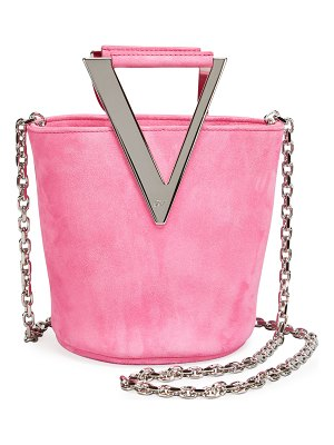 Roger Vivier RV Mini Suede Bucket Bag with Logo Handles