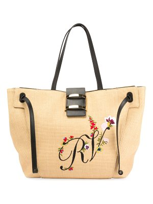 ROGER VIVIER Viv Flower-Embroidered Straw Tote Bag