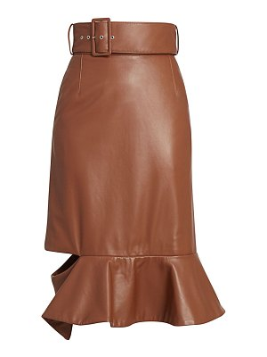 Rokh belted leather flounce skirt