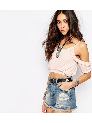 ROKOKO Cold Shoulder Ruffle Crop Top