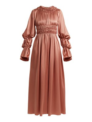 Roksanda zoya gathered silk satin dress