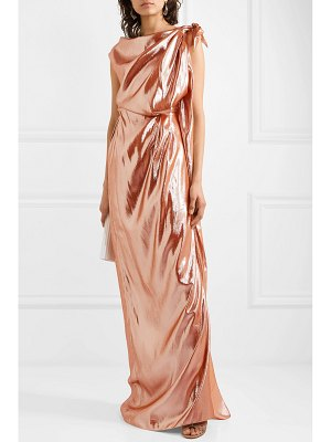 Roland Mouret draped metallic silk-blend gown