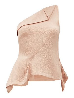 Roland Mouret fira one-shoulder draped silk-satin top