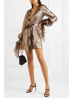 Roland Mouret hamberg metallic plissé silk-blend wrap mini dress