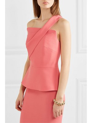 Roland Mouret harlech one-shoulder wool-crepe peplum top