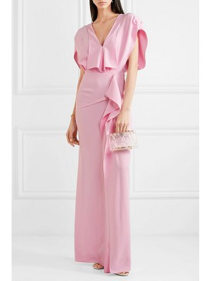 Roland Mouret lorre cape-effect ruffled crepe gown
