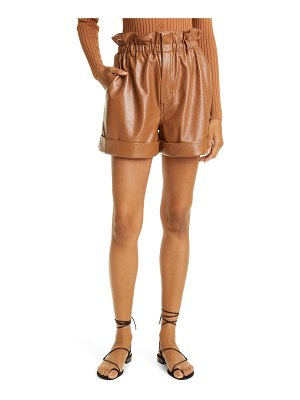 Ronny Kobo pearl faux leather paperbag waist shorts