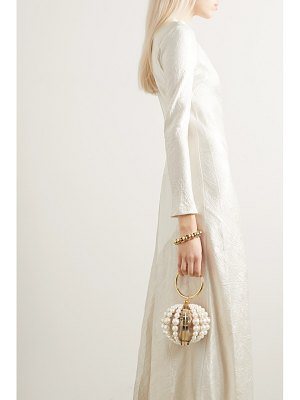 Rosantica billie mini crystal-embellished faux pearl, gold-tone and satin tote