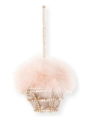 Rosantica Cupcake Embellished Cage Minaudiere Bag w/ Marabou Feathers