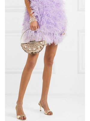 Rosantica jodi crystal and faux pearl-embellished gold-tone and velvet clutch