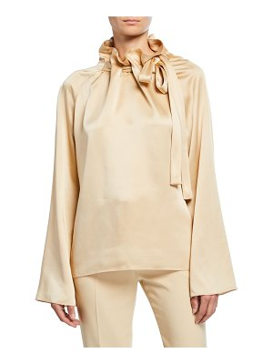 ROSETTA GETTY Satin Tie-Neck A-Line Blouse