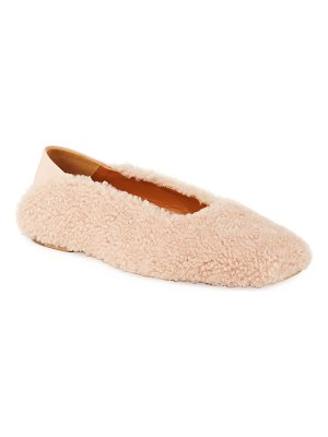 ROSETTA GETTY Shearling Ballerina Flat Loafers
