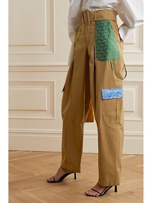Rosie Assoulin belted jacquard-trimmed cotton wide-leg pants
