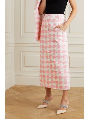 ROWEN ROSE vichy iconic houndstooth cotton-twill midi skirt