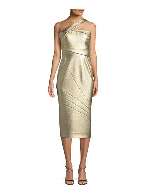 Rubin Singer One-Shoulder Textured Matelasse Cocktail Dress