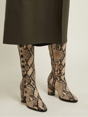 RUE ST. Lana Snake Effect Leather Knee High Boots