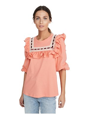 Runway Marc Jacobs jersey t-shirt with lace trim & ruffle