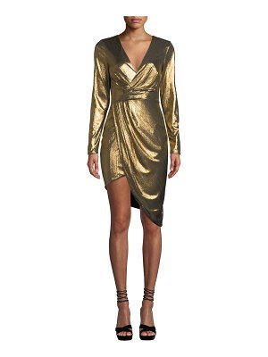Ryse Violet Metallic Long-Sleeve Cocktail Dress