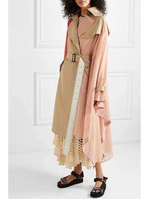 SACAI draped pleated cotton-blend gabardine, poplin, georgette and satin trench coat