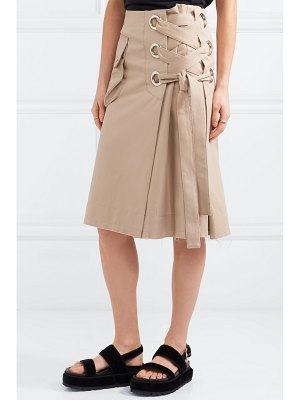 SACAI lace-up cotton-twill skirt