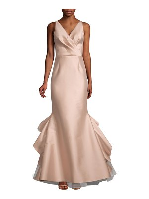 Sachin & Babi chesterton satin wrap bodice mermaid gown