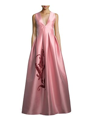 Sachin & Babi Embroidered Tulip Taffeta Sleeveless Gown