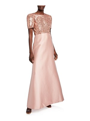 Sachin & Babi Margot Sequin Bodice Short-Sleeve Twill Skirt A-Line Gown