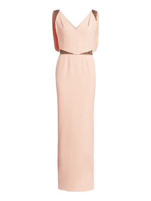 Safiyaa antheia embellished v-neck column gown