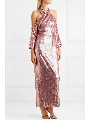 Safiyaa sequined crepe halterneck midi dress