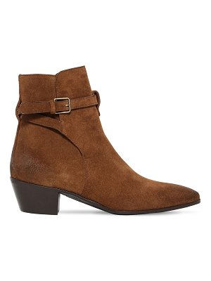Saint Laurent 40mm wyatt buckled suede ankle boots