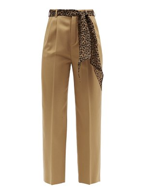 Saint Laurent belted wool-twill straight-leg trousers