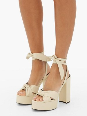 Saint Laurent bianca leather platform sandals