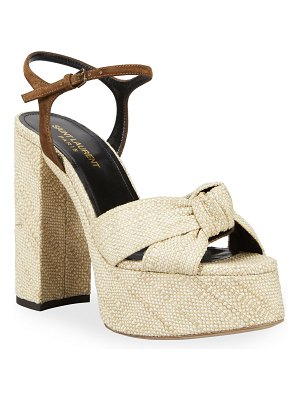 Saint Laurent Bianca Platform Ankle-Wrap Sandals