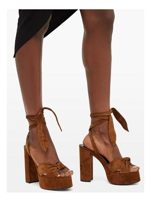 Saint Laurent bianca suede platform sandals