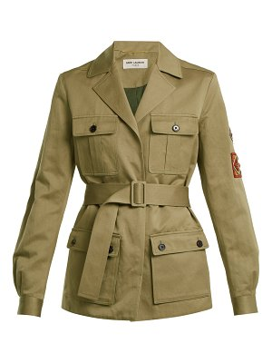 Saint Laurent Cargo-pocket belted cotton-linen military jacket
